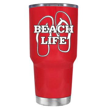 The Beach Life Sandals on Red 30 oz Tumbler Cup