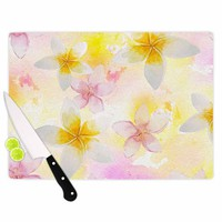 "Sylvia Cook ""White Watercolor Plumerias"" Yellow Pink Digital Cutting Board"