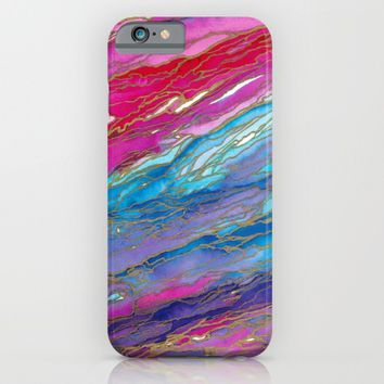 AGATE MAGIC PinkAqua Red Lavender, Marble Geode Natural Stone Inspired Watercolor Abstract Painting iPhone & iPod Case by EbiEmporium
