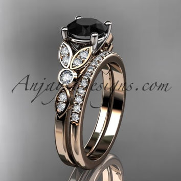 14k rose gold unique engagement set, wedding ring with a Black Diamond center stone ADLR387S