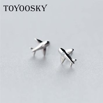 Real. 925 Sterling Silver Aircraft Airplane Plane Stud Earrings Women's with Clear CZ Handmade Jewelry 2017 New