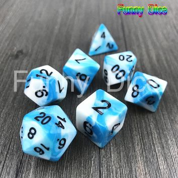Mixed-color Polyhedral White Mix Blue Color Dice Complete Set of D4- D20 with A Small Bag Perfect for Dungeons and Dragons