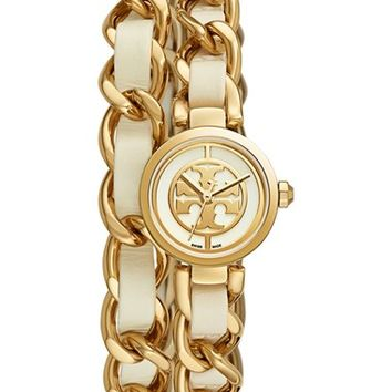 Tory Burch 'Mini Reva' Double Wrap Chain Watch, 20mm | Nordstrom