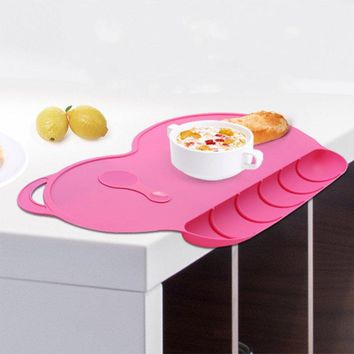 Baby Kids Placemat Silicone Nonslip Dining Plates Tray Food Snack Spill Proof Groove Waterproof Dish