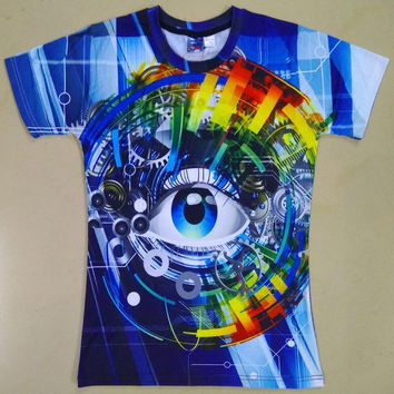 Brand T-shirt Men/Women 3d T shirt Digital Print Mechanical Gears Eyes T-shirt Plus Size Summer Tops
