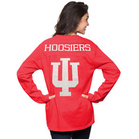 Indiana Hoosiers Women's Crimson The Big Shirt Oversized Long Sleeve T-Shirt