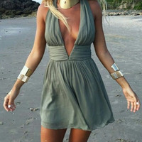 Blackish Green V-Neck Halter Mini Dress