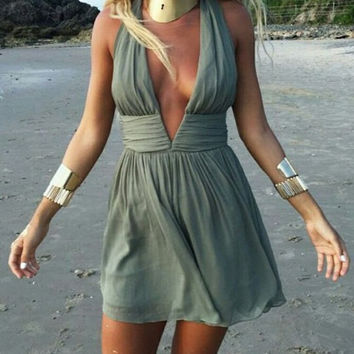 Blackish Green V-Neck Halter Dress