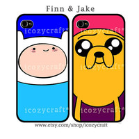 iphone 5 case, iphone 4 case, iphone 4scase best friend iphone case Adventure time Jake Finn cover SET of 2- 123