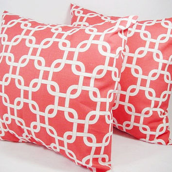 Two Coral and White Chainlink Decorative Throw Pillow Covers - 20 x 20 inches Couch Pillow Cushion Cover Accent Pillow