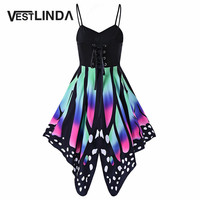 VESTLINDA Novelty Butterfly Shape Summer Dress 2017 Sleeveless Lace Up Sexy Beach Dresses Casual Women Party Dresses Vestidos