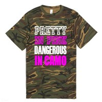 Pretty In Pink Dangerous In Camo-Unisex Green T-Shirt