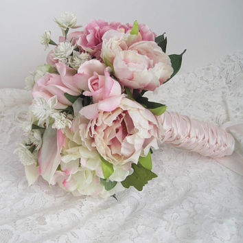 Stunning  Shades of Pink Mixed Flower Bridal Bouquet French Knotted with Blush Pink Satin Ribbon on Handle Ready to Ship Wedding Bouquets