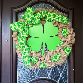 St.Patricks Day Wreath, Burlap St. Patricks Day Wreath, Irish Wreath, Burlap Irish Wreath, Shamrock Wreath, St. Patricks Day Décor,