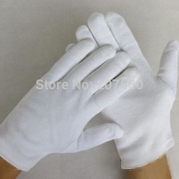 12 pairs White 100% Cotton Gloves Serving / Waiters Gloves Concierge Butler Snooker Equestrian Gloves