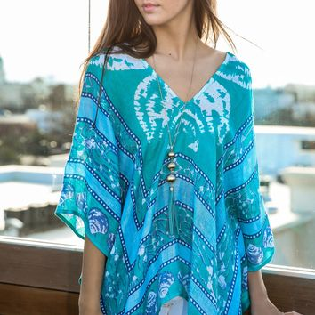 Brunch By The Sea Poncho-Turquoise