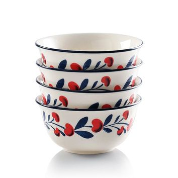 Cherries Series Living Ware 6-inch Cereal Bowls 26 Oz for , Pasta Soup Oven Safe, Lead-free Stoneware Set of 4 by Sweejar