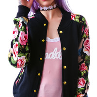 Joyrich Angelic Rich Floral Athletic Jacket Black