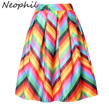 Neophil Rainbow Striped Fringe Printed 2017 Summer High Waist Jupe Femme Pleated Ruffle Flare Satin A-Line Womens Skirts S07048