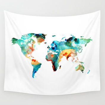 Map of The World 11 -Colorful Abstract Art Wall Tapestry by Sharon Cummings