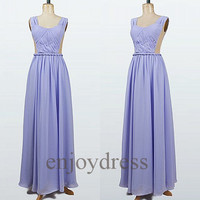 Custom Lavender Bridemaid Dresses 2014 Long Prom Dresses Simple Party Dress Wedding Party Dress Cheap Dress Party Chiffon Bridesmaid Dresses