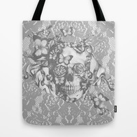 Ashes to Ashes lace skull Tote Bag by Kristy Patterson Design