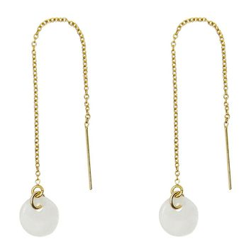 Tiny Capiz Seashell Disc Threader Earrings