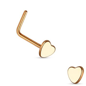 Rose Gold Plated Heart L Bend Nose Stud Ring