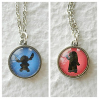 Ohana Double Sided Petite Disney Necklace  by TheGreenDaisyShop