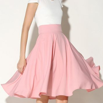 Streetstyle  Casual Charming Solid-Color Flared Midi Skirt