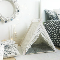 Dog teepee with grey bedding (Standard size)