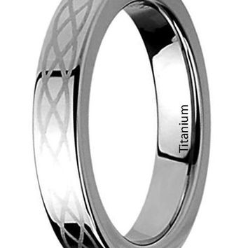 CERTIFIED 4MM Titanium Womens Rings Celtic Knot Engraved Wedding Bands