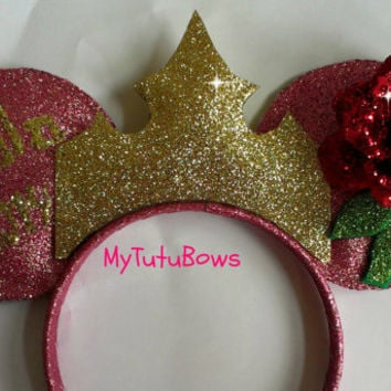 AURORA SLEEPING BEAUTY Inspired Minnie Mouse Ears! Pink Ears Headband Rose Golden Crown Fits Adults and Children