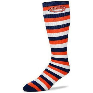Chicago Bears Striped Knee High Hi Tube Socks One Size Fits Most Adults