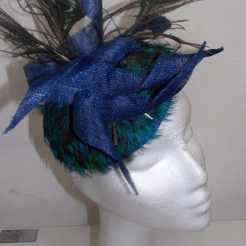 Royal blue headpiece with pheasant and peacock feathers