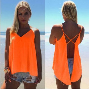 Chiffon Sexy Criss Cross Back Sleeveless V Neck T-Shirt Top
