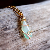 Natural Chrysoprase Jewelry made in Hawaii, Wire wrapped gemstone necklace, chrysoprase stone pendant