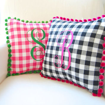 Monogram Pillow Pom Pom Trim, Personalized Pillow, Tween Girl Gift, Baby Girl Nursery, Gingham Pillow, Plaid Pillow, Pom Pom Pillow