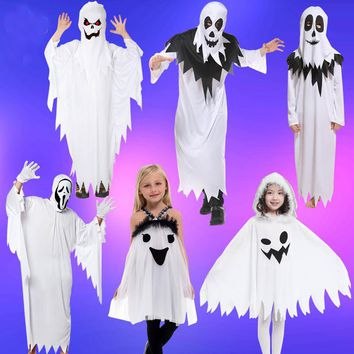 Adult children Halloween cosplay scary Costumes White Ghost costume Tattered  specter Gown Mask girl boy  Fancy Dress robe