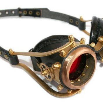 STEAMPUNK GOGGLES made from solid brass black leather by ErihMann