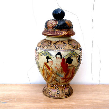 Vintage Large Japanese Satsuma Earthenware Handpainted Lidded Urn/Jar