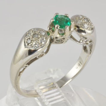 Diamond Emerald Engagement Ring - 18K White Gold - 1/3 carat Emerald and Pave Diamonds - Vintage - Size 7