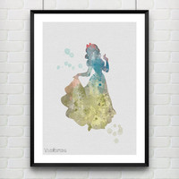 Snow White Watercolor Print, Disney Baby Girl Nursery Decor, Wall Art, Home Decor, Gift Idea, Not Framed, Buy 2 Get 1 Free! [No. 14-1]