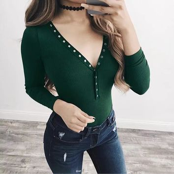 Women Solid Color Fashion Buttons Long Sleeve T-shirt V-Neck Bodycon Bodysuit