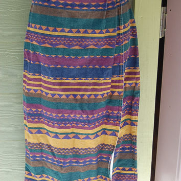 Vintage 80s 90s Tribal Aztec Southwest Western Print Be Bop Long Sarong Style Wrap Skirt Size 9