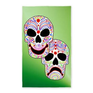 Comitragic DODT Skulls 3'x5' Area Rug> Colorful Comitragic Muertos> Jan4insight Designs