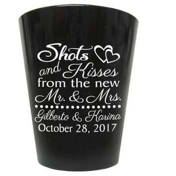 Black plastic shot glasses, personalized wedding favors, shots and kisses to the new mr and mrs, budget friendly favors