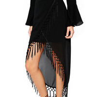 Black Wrap Asymmetrical Fringe Chiffon Skirt