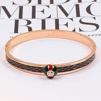 GUCCI Women Men High Quality New Popular More Letter Personality Bracelet Rose Gold