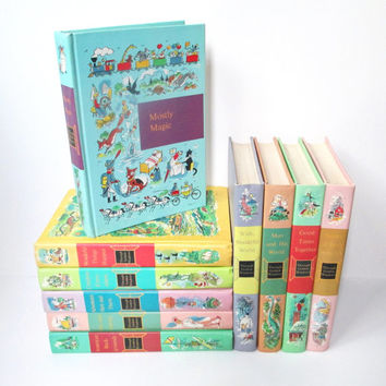 Vintage Childrens Books, Through Golden Windows Complete 10 Volume Set, Nursery Decor, Book Stack